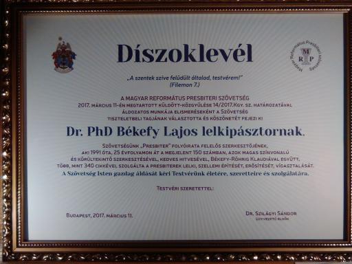 Elismerés Dr. Békefy Lajosnak, a Presbiter c. lap felelős szerkesztőjének